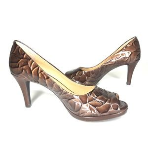 Alex Marie Shoes - Alex Marie Brown Croc Print Peep Toe Heels SH0897